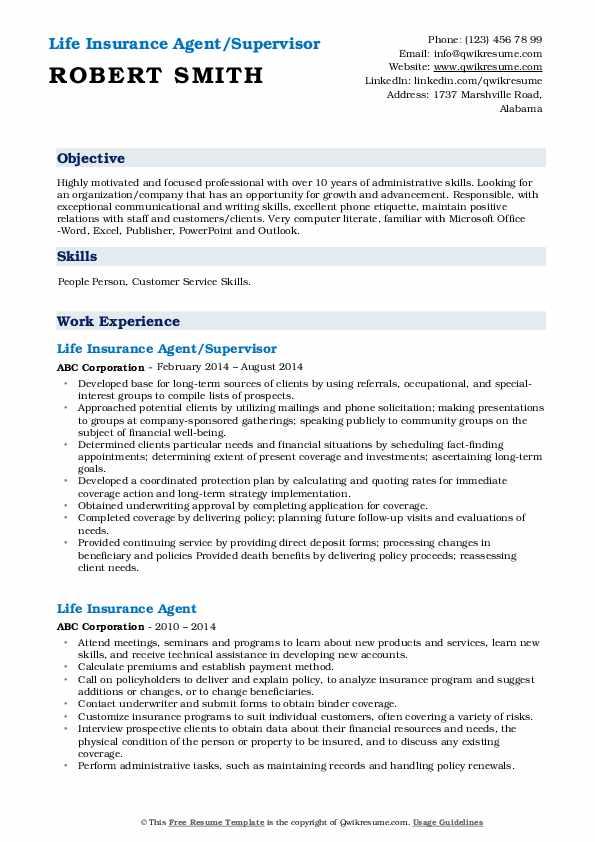 Life Insurance Agent/Supervisor Resume Sample
