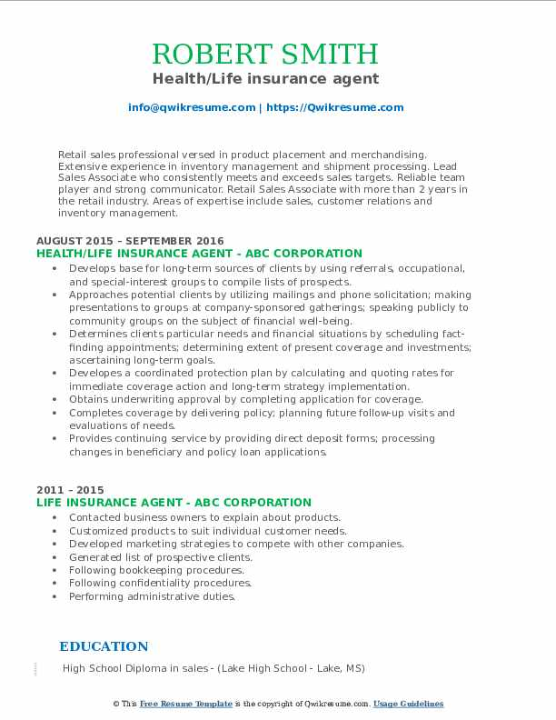 Health/Life insurance agent Resume Format