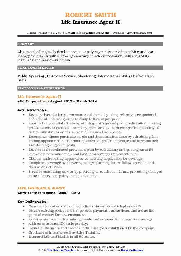 Life Insurance Agent II Resume Example