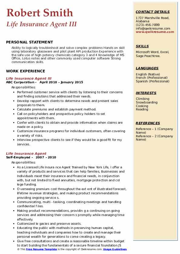 Life Insurance Agent III Resume Template