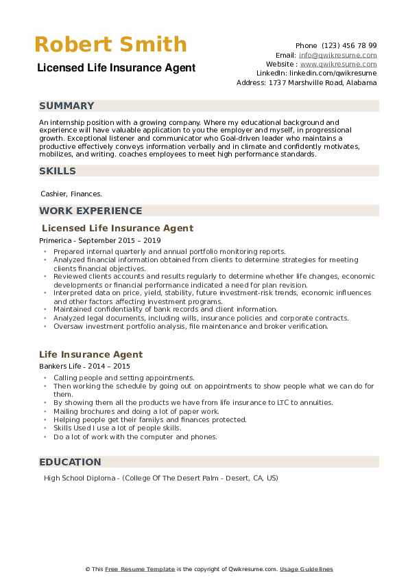 Licensed Life Insurance Agent Resume Template