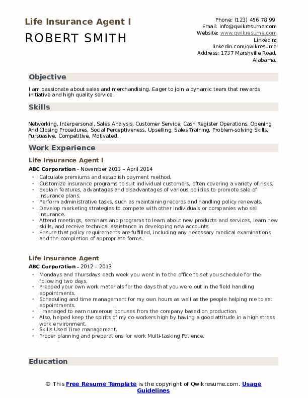 Life Insurance Agent I Resume Model