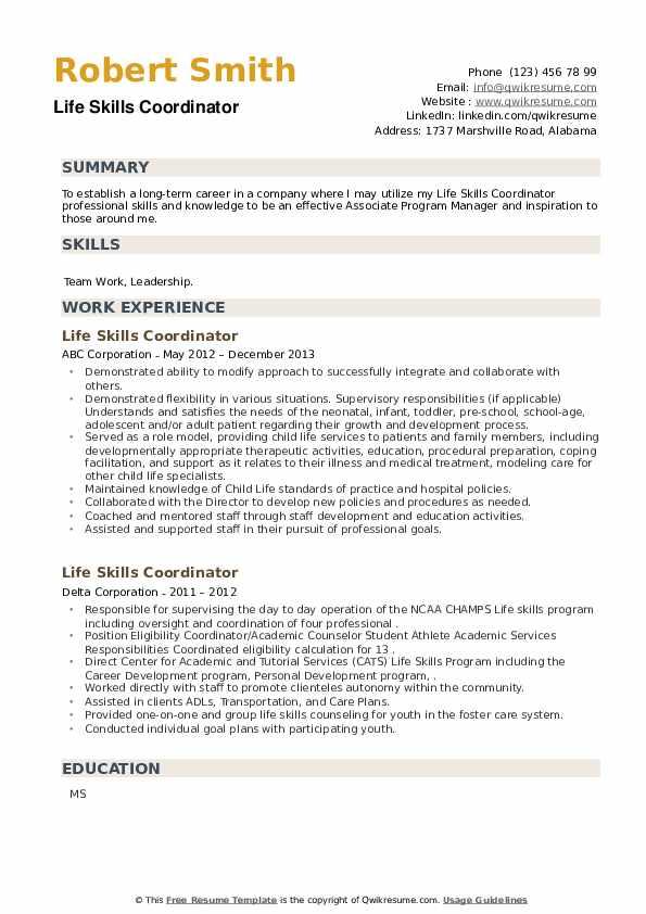 Life Skills Coordinator Resume example