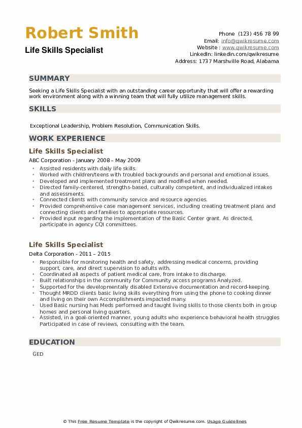 Life Skills Specialist Resume example