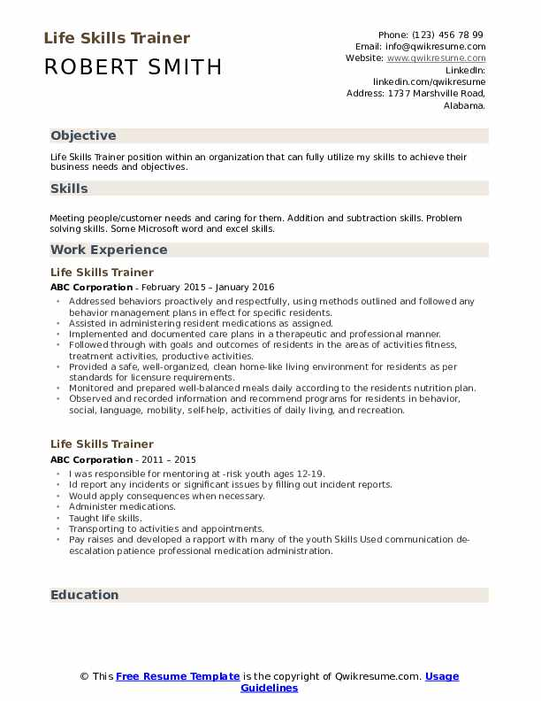 Life Skills Trainer Resume Template