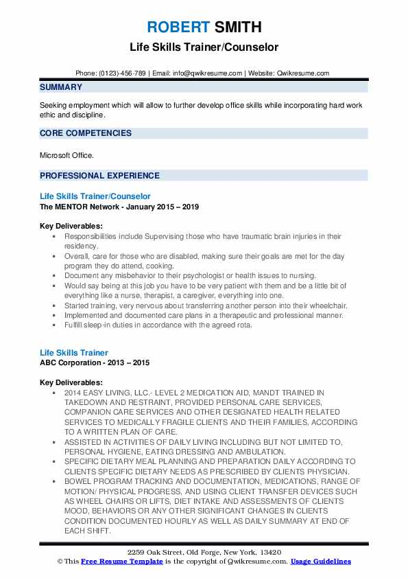Life Skills Trainer/Counselor Resume Format