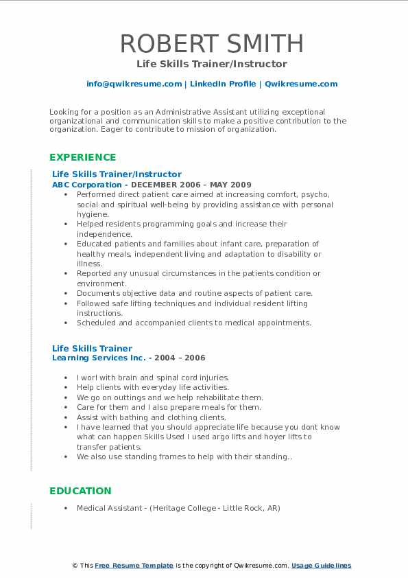 Life Skills Trainer/Instructor Resume Model
