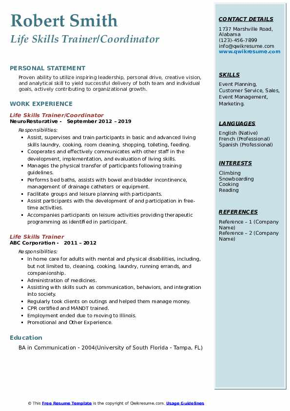 Life Skills Trainer/Coordinator Resume Sample