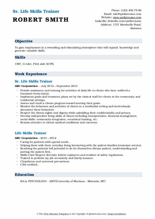Sr. Life Skills Trainer Resume Sample
