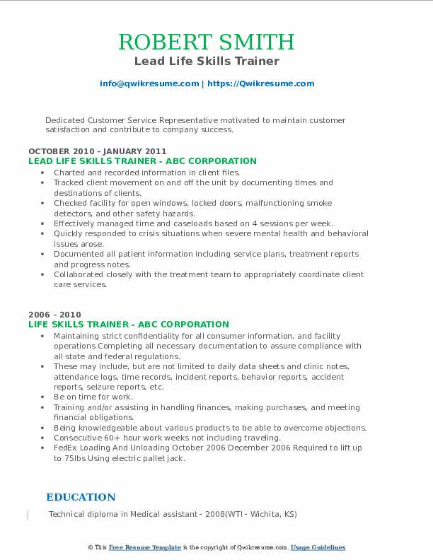 Lead Life Skills Trainer Resume Sample