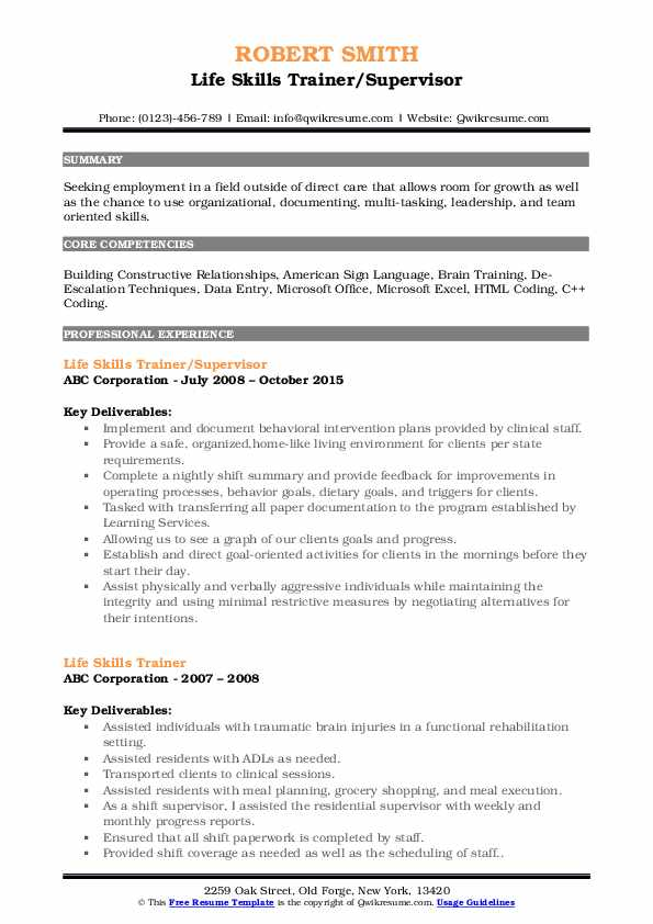 Life Skills Trainer/Supervisor Resume Template