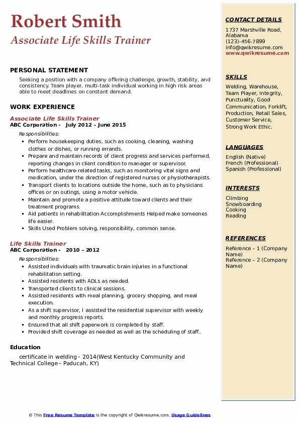 Associate Life Skills Trainer Resume Template