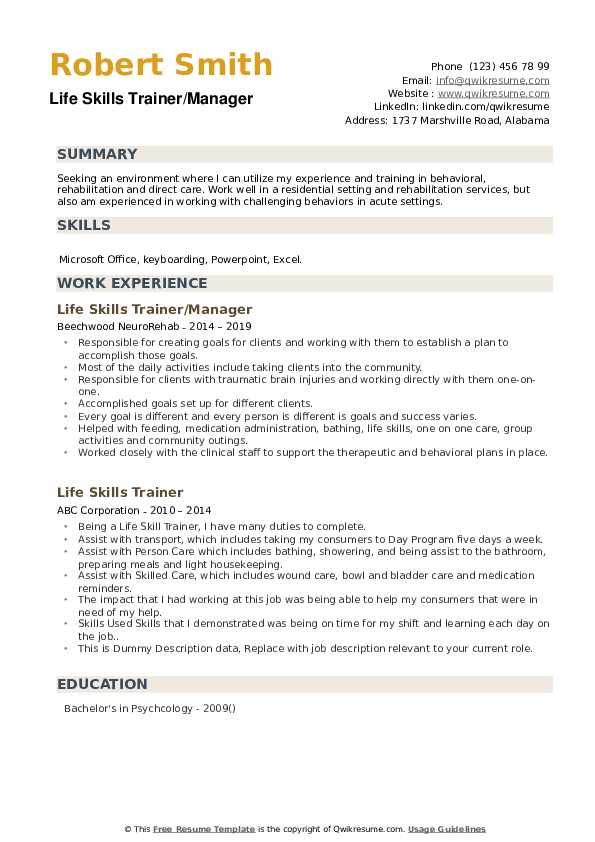 Life Skills Trainer/Manager Resume Sample