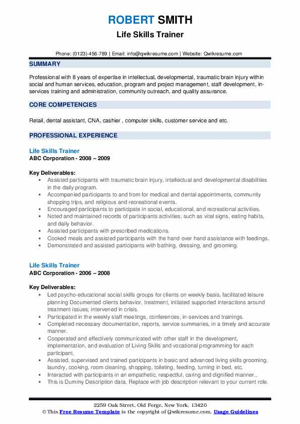 Life Skills Trainer Resume example