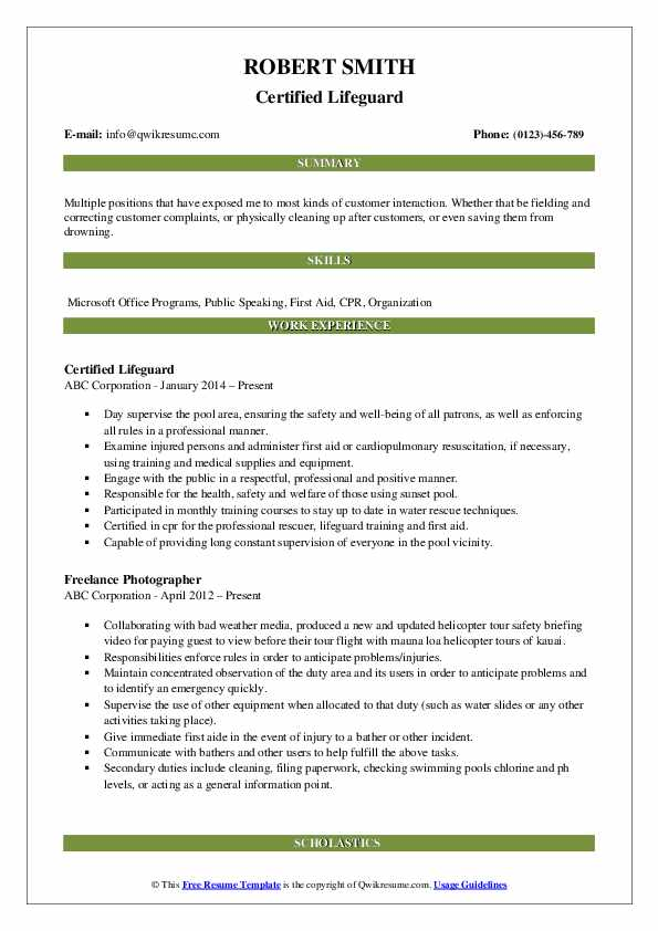 Certified Lifeguard Resume Example