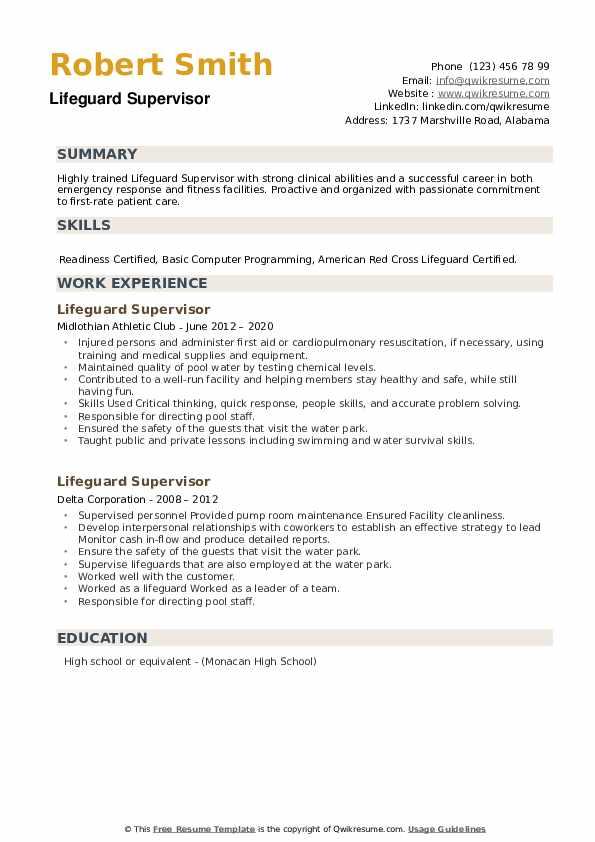 Lifeguard Supervisor Resume example