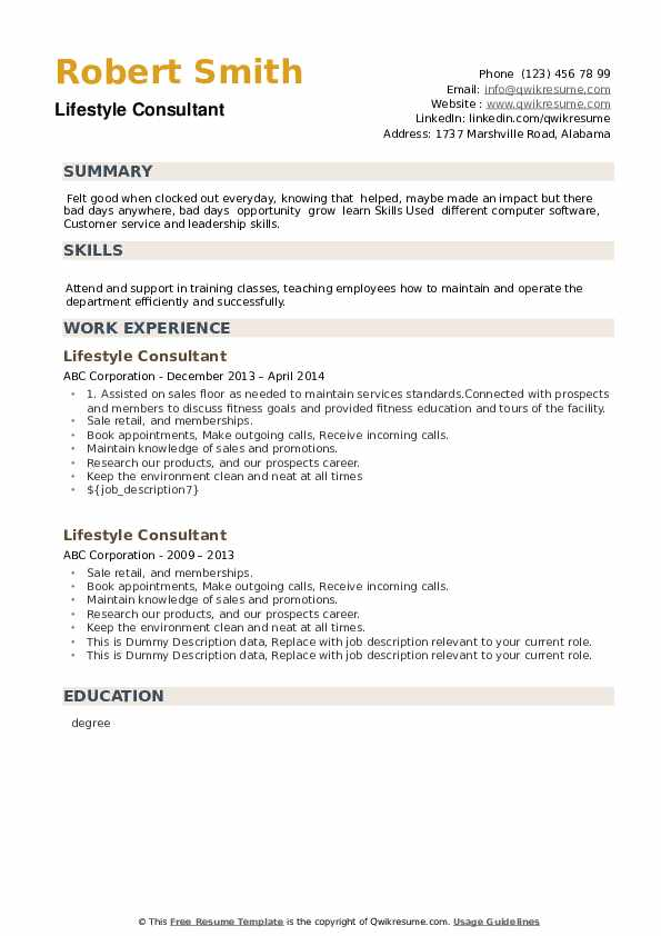 Lifestyle Consultant Resume example