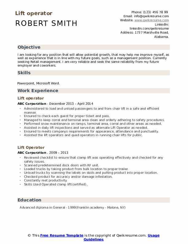 Lift operator Resume Model