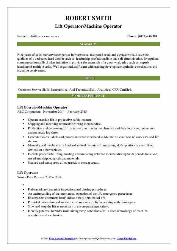 Lift Operator/Machine Operator Resume Example