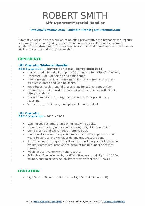 Lift Operator/Material Handler Resume Template