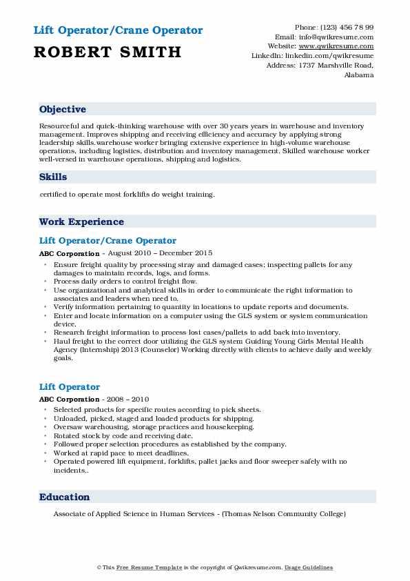 Lift Operator/Crane Operator Resume Format