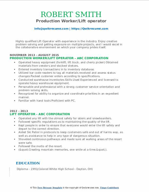 Production Worker/Lift operator Resume Example
