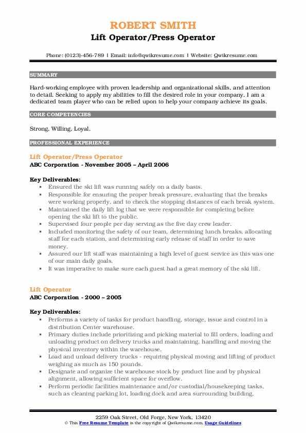 Lift Operator/Press Operator Resume Model