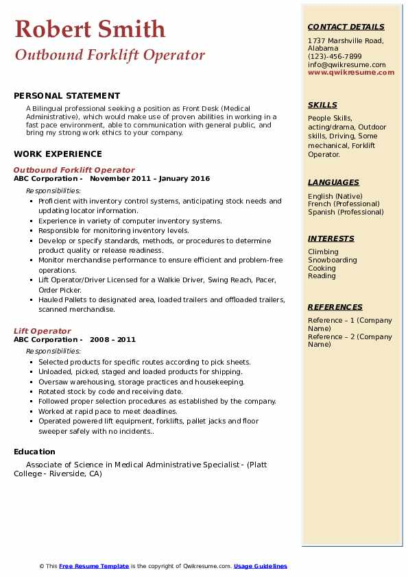 Outbound Forklift Operator Resume Format