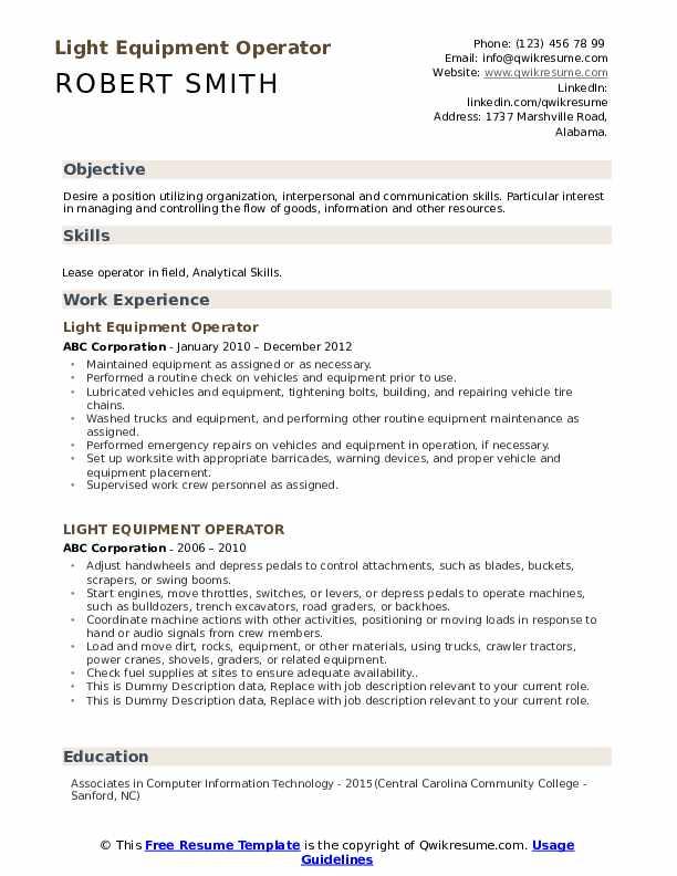 Light Equipment Operator Resume example
