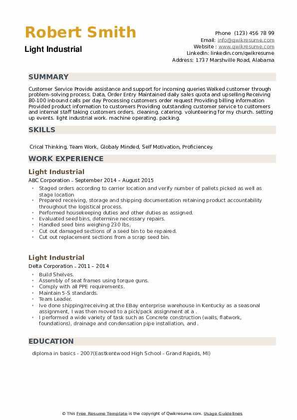 Light Industrial Resume example