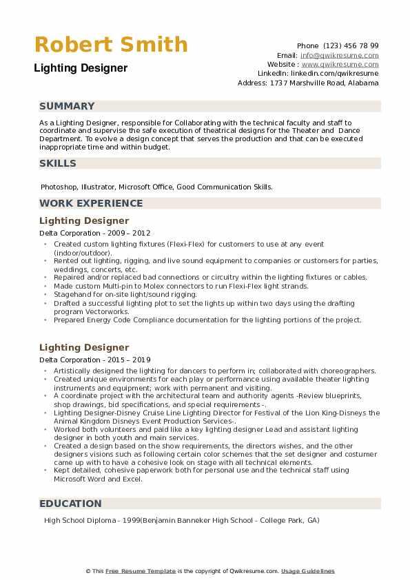 Lighting Designer Resume example