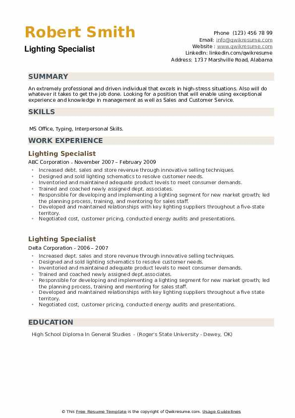 Lighting Specialist Resume example