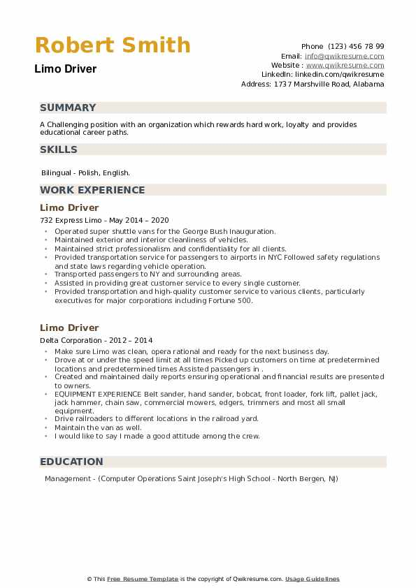 Limo Driver Resume example