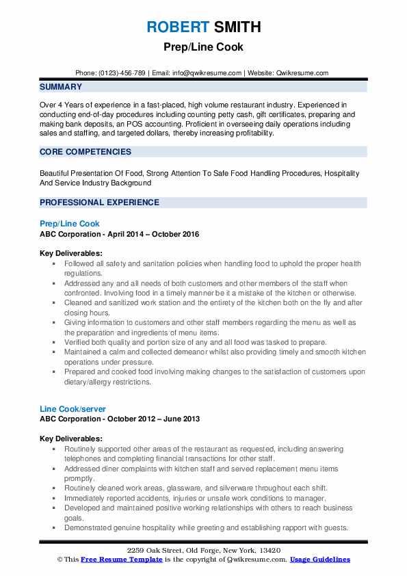 Prep/Line Cook Resume Model