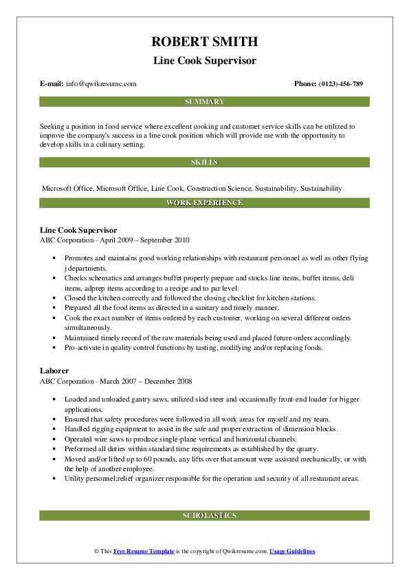 Line Cook Supervisor Resume Sample
