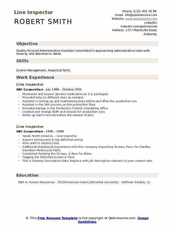 Line Inspector Resume example