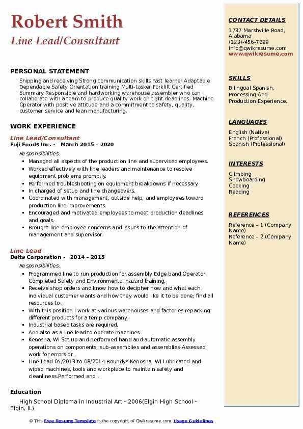Line Lead Resume example