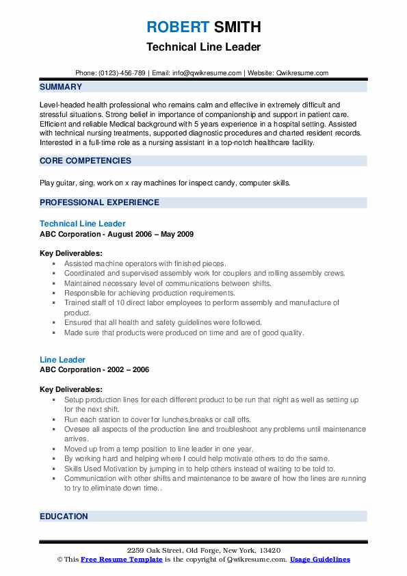 Technical Line Leader Resume Example