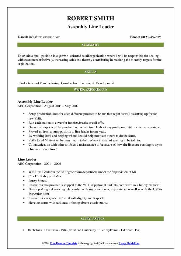 Assembly Line Leader Resume Sample