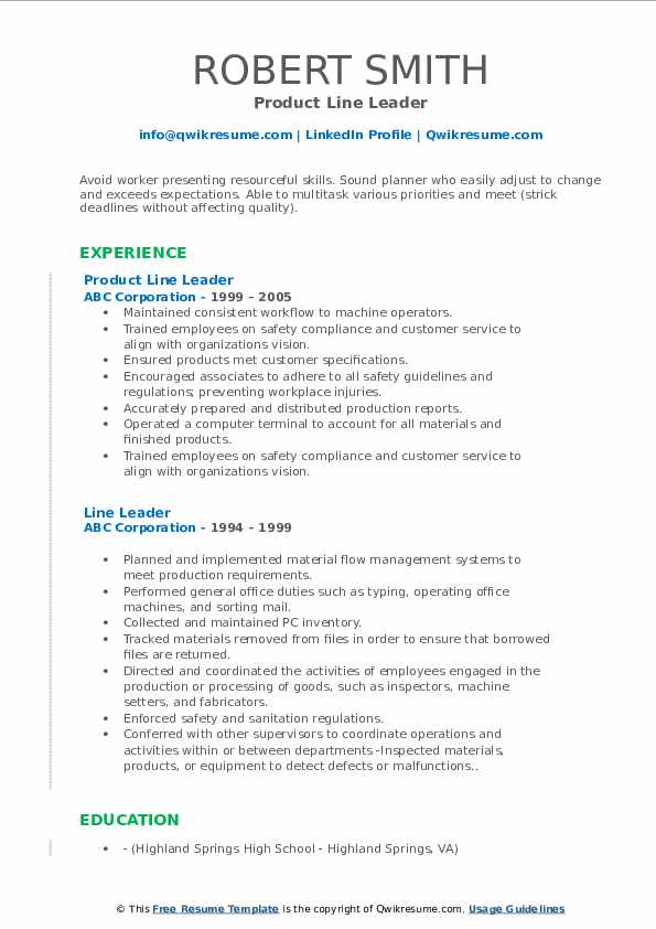 Product Line Leader Resume Template