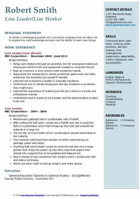 Line Leader/Line Worker  Resume Model
