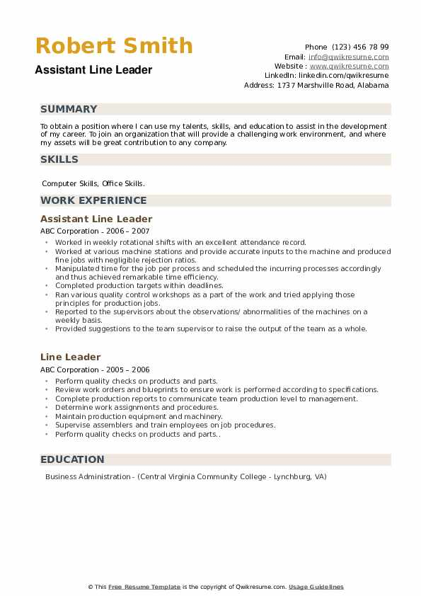 Assistant Line Leader Resume Template