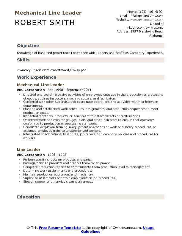 Mechanical Line Leader Resume Format