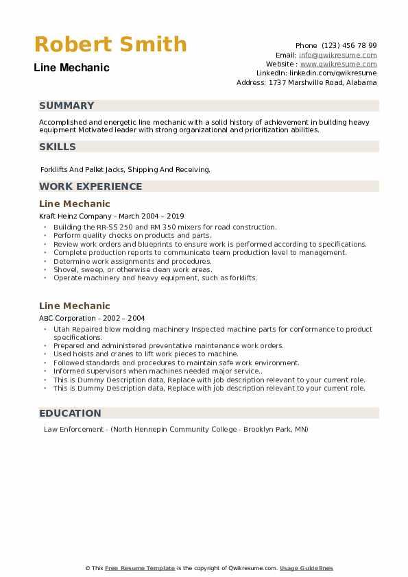 Line Mechanic Resume example
