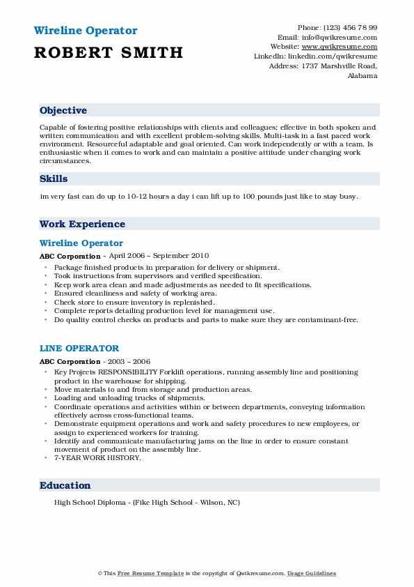 Line Operator Resume Samples   QwikResume
