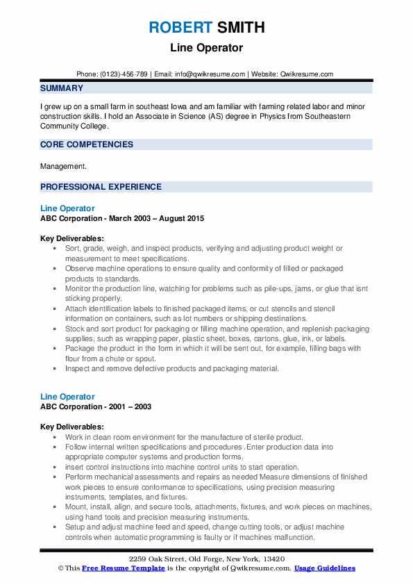 Line Operator Resume example