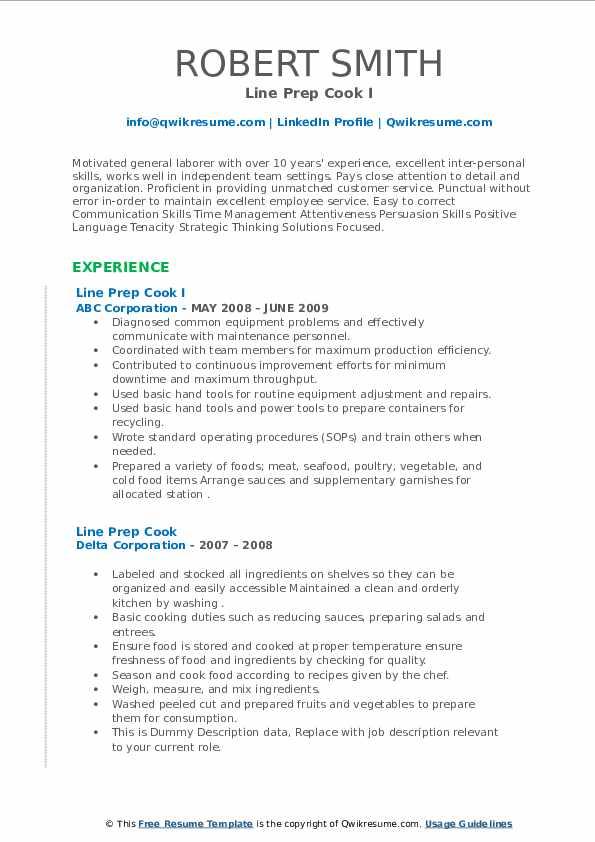 line prep cook resume samples  qwikresume