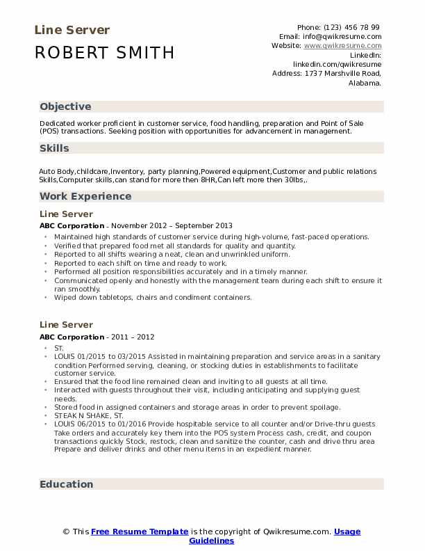 Line Server Resume Sample