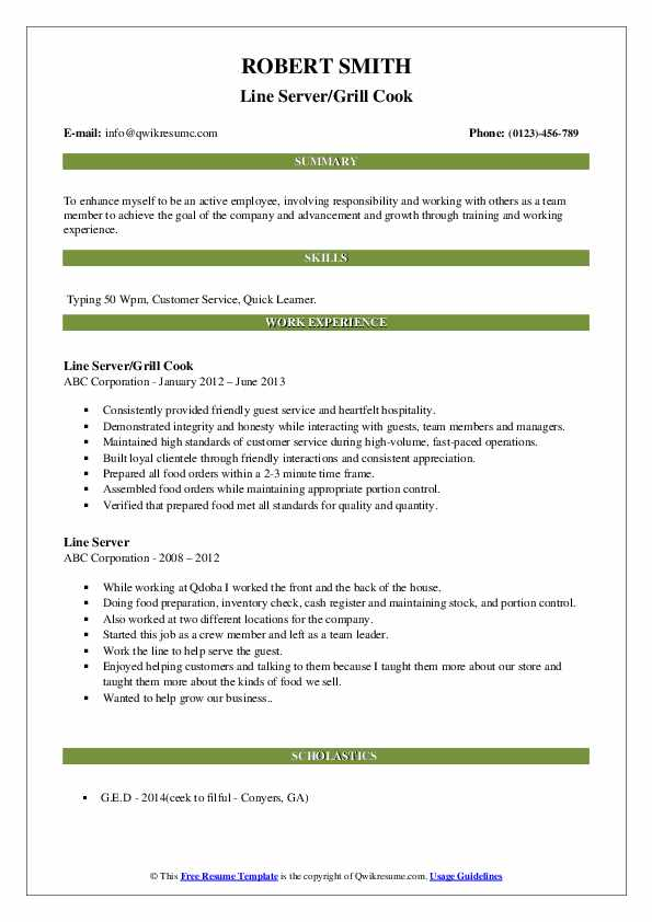 Line Server/Grill Cook Resume Sample