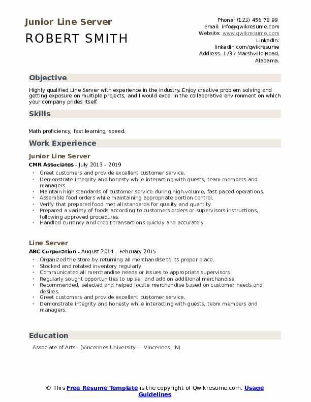 Junior Line Server Resume Model